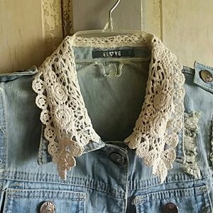 LLOVE Jackets & Coats - Distressed Denim Vest With Lace and Pearls